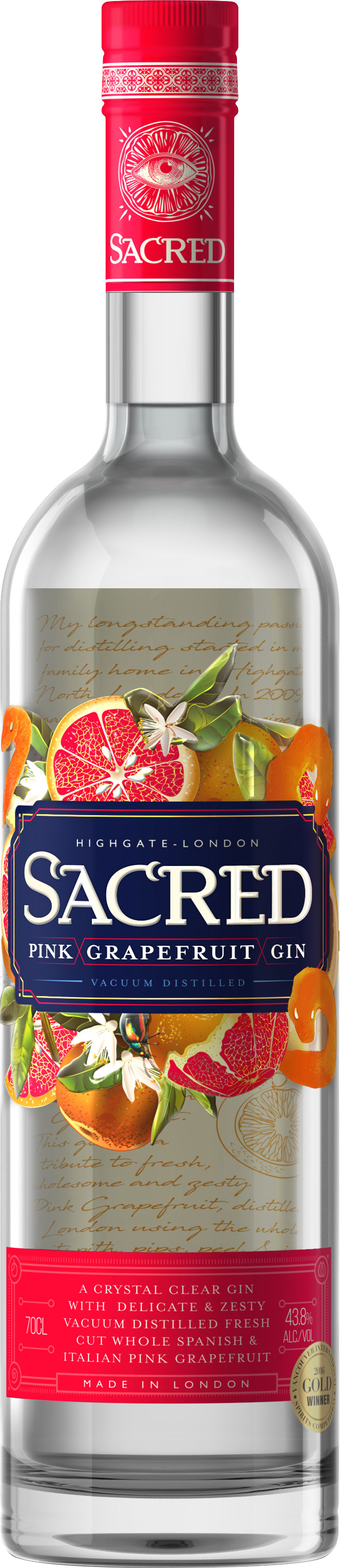 Sacred - Pink Grapefruit Gin 70cl Bottle