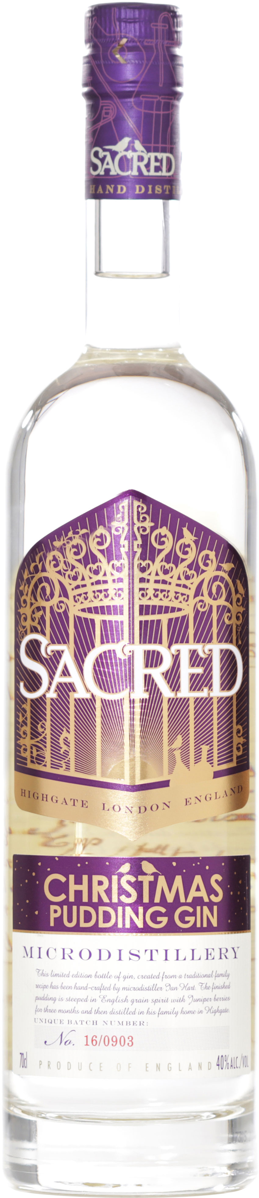 Sacred - Christmas Pudding Gin 70cl Bottle