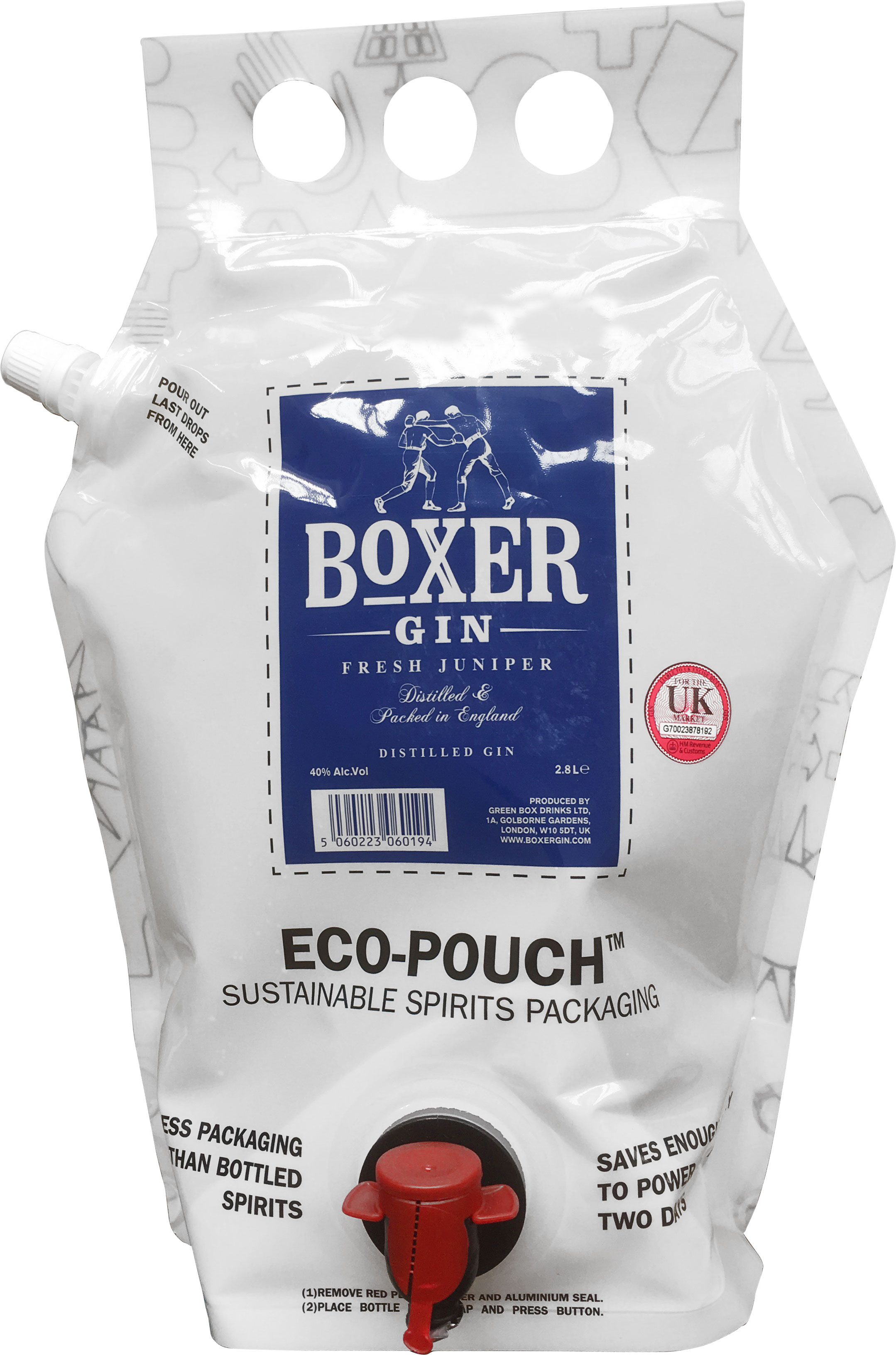 Boxer Gin - Eco-Pouch Refill 2.8 Litre Eco-Pouch