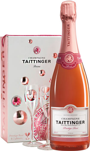 Taittinger - Brut Prestige Rose & 2 Glass Pack Champagne Gift Box - 1 Bottle