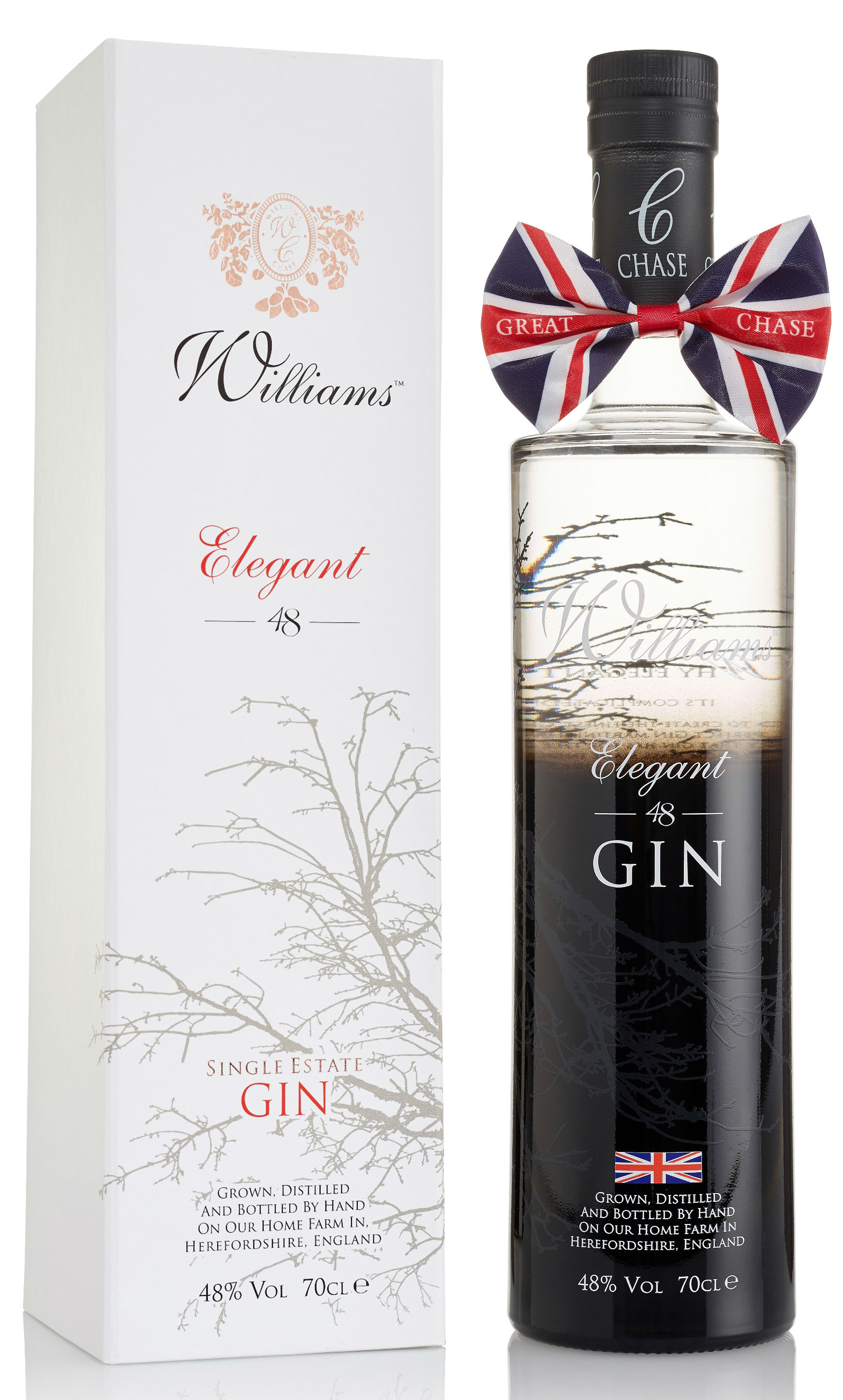 Chase Distillery - Elegant Crisp Gin in white gift box 70cl Bottle