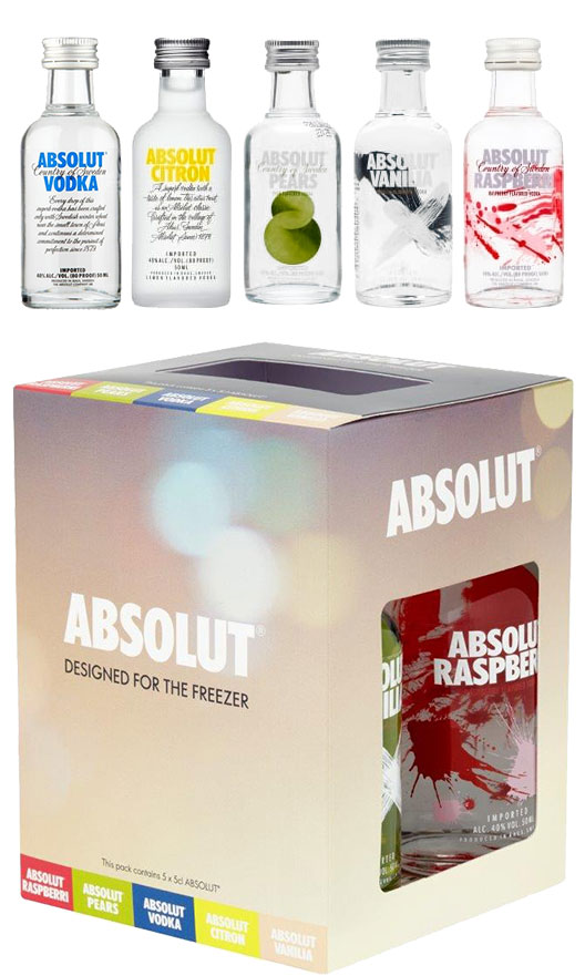 Image of Absolut - Freezer Gift Pack 5x 5cl Miniatures