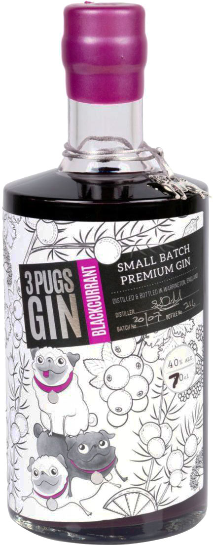 3 Pugs - Blackcurrant Gin 50cl Bottle