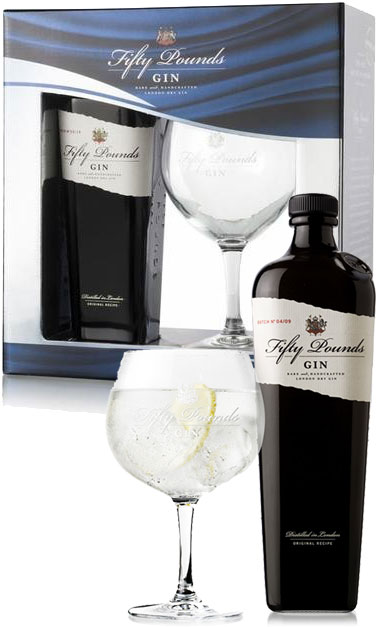 Fifty Pounds - Gin Single Glass Pack 70cl Bottle