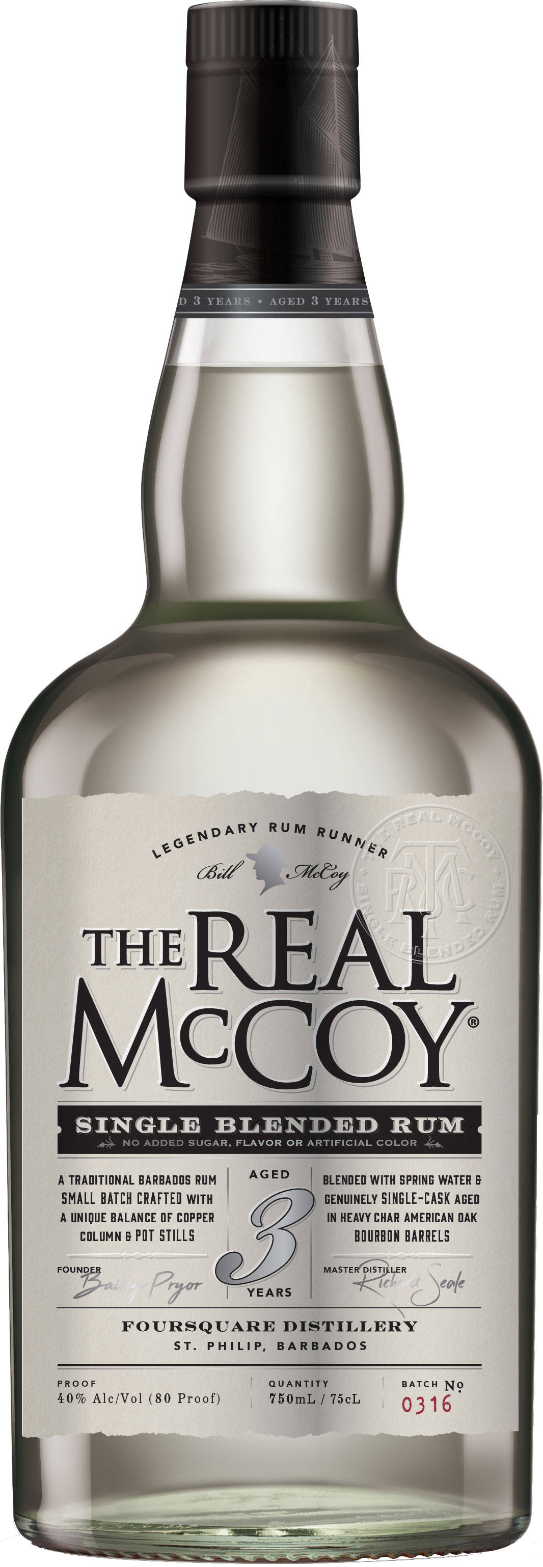 The Real McCoy Rum - 3 Years Old 70cl Bottle