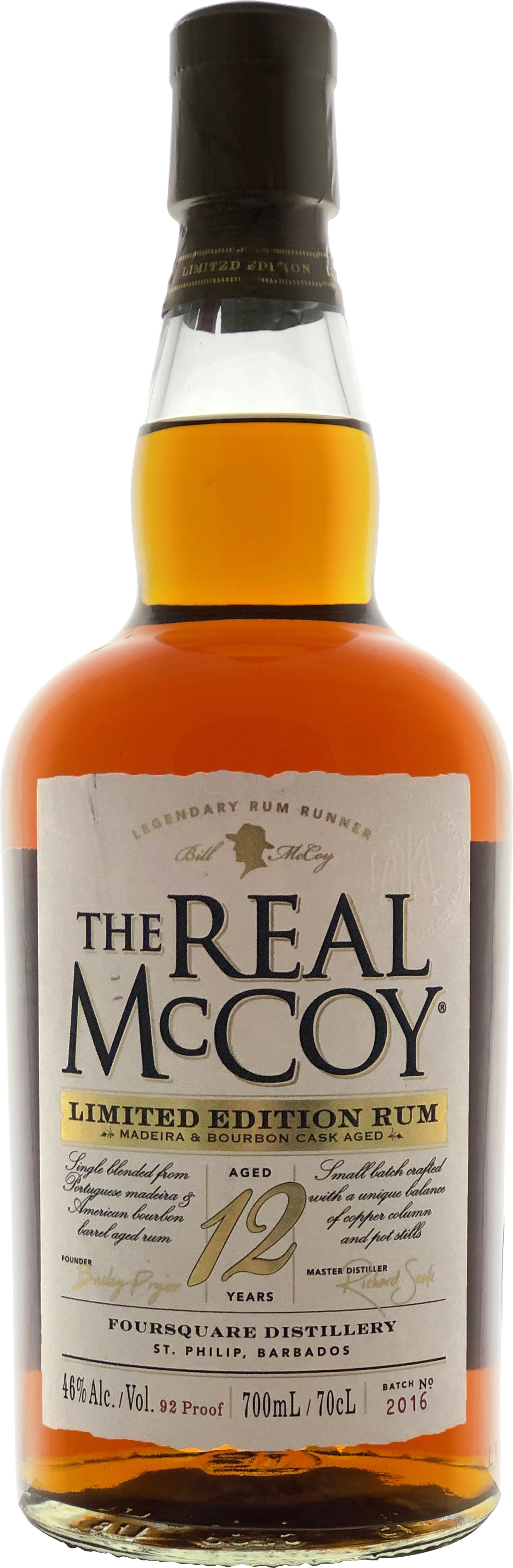 The Real McCoy Rum - Limited Edition Madeira 12 Years Old 70cl Bottle