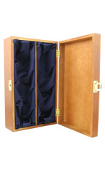 Hardwood, Silk Lined Box - 2 Bottle Twin Bottle Gift Box