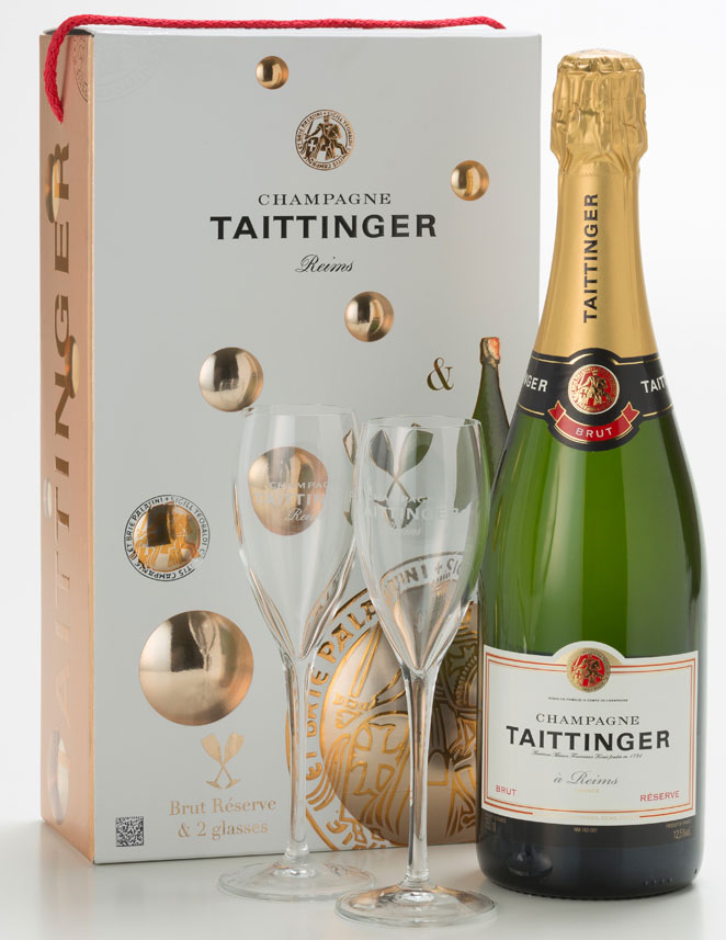 Taittinger - Brut Reserve & 2 Glass Pack Champagne Gift Box - 1 Bottle